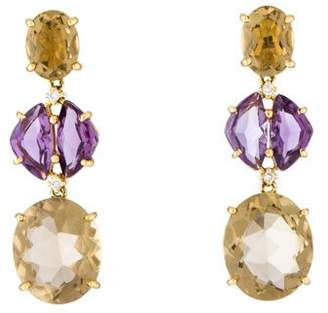 18K Citrine, Amethyst & Diamond Earrings