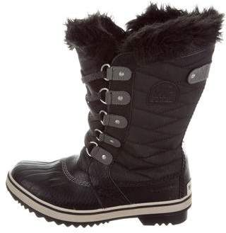 Sorel Rubber Shearling-Trimmed Snow Boots