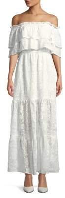 BB Dakota Tiered Cold-Shoulder Floral Lace Maxi Dress