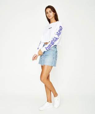 Stussy Express Long Sleeve Crop T-shirt White