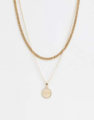 Chained & Able gold double layer coin necklace
