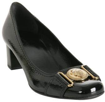 Gucci black patent leather 'Shield' buckle pumps