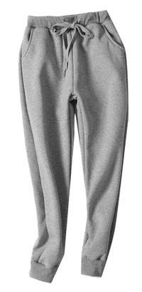 Sweatwater Women Winter Elastic Waist Wool Lined Fleece Sweatpants Jogging Pants