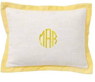 Pottery Barn Teen Velvet Border Monogram Pillow Covers, 12x16, Yellow