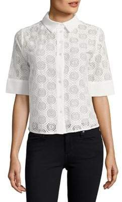The Fifth Label Perforated Short-Sleeve Button-Down Shirt