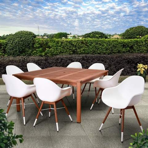 Amazonia 9pc Metz Square Eucalyptus/Resin Patio Dining Set White