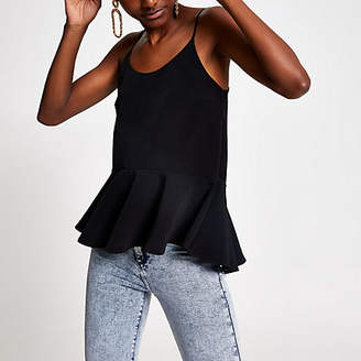 River Island Black peplum cami top