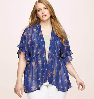 Loralette Blue Floral Kimono 3Fer with Necklace