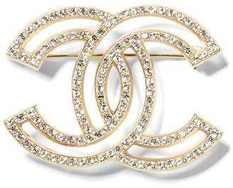 Banana Republic LUXE FINDS | Chanel Gold Crystal Logo Pin