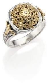 Konstantino Classic Diamond, 18K Yellow Gold& Sterling Silver Petite Ring