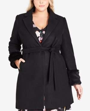 City Chic Trendy Plus Size Faux-Fur Fluff Coat