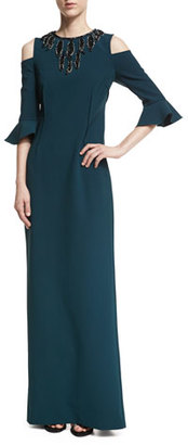 Rickie Freeman for Teri Jon Stretch-Crepe Column Evening Gown w/ Beaded $580 thestylecure.com