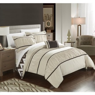 Chic Home 8-Piece Brooks Pleated & Ruffled with Chevron REVERSIBLE Backing Full/Queen Bed In a Bag Comforter Set Beige With sheet set