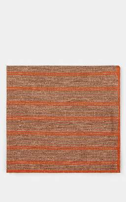 Eleventy Men's Reversible Wool-Cotton Pocket Square - Beige, Tan