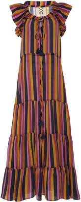 Figue Gianna Striped Silk Maxi Dress