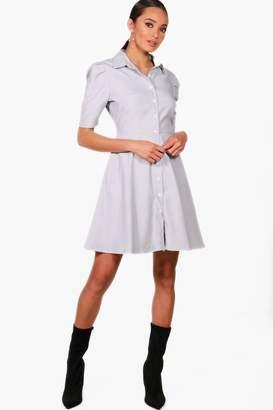 boohoo Stripe Shirt Skater Dress
