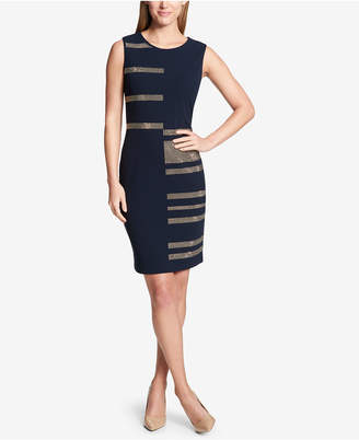 Tommy Hilfiger Metallic Stud-Stripe Sheath Dress