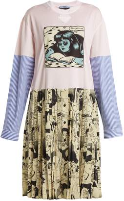 Prada Comic-print cotton-jersey and silk dress