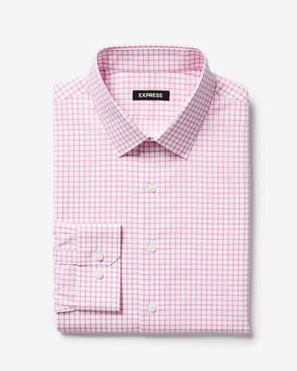 Express Classic Check Print Cotton Point Collar Dress Shirt