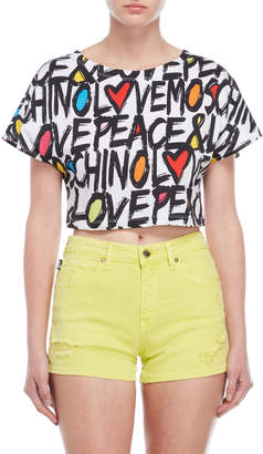 Love Moschino Printed Cropped Tee