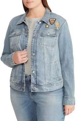 Lauren Ralph Lauren Plus Embroidered Denim Jacket