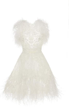 cb08e3772de ZUHAIR MURAD Feather Embroidered Tulle Cocktail Dress
