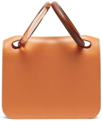 Roksanda 'Neneh' wood acrylic ring handle leather bag
