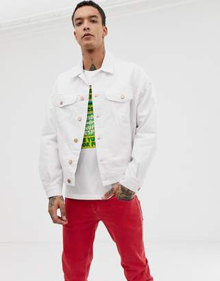 Asos Design DESIGN oversized denim jacket with check in white