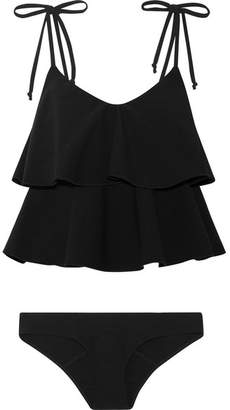 Lisa Marie Fernandez - Imaan Ruffled Stretch-crepe Bikini - Black $560 thestylecure.com