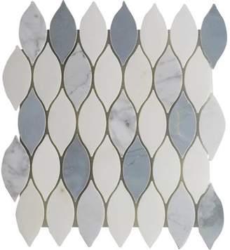 Seven Seas Elongated Tear Drop-Pure Carrara Wall 12 x 10.8 Natural Stone Mosaic Tile in White/Blue