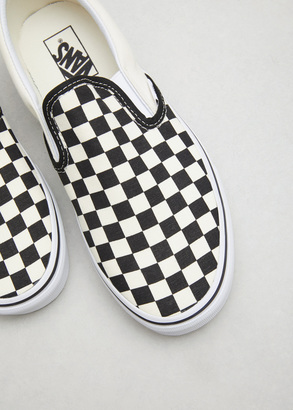 Vans black & white checkerboard / white classic slip-on $50 thestylecure.com