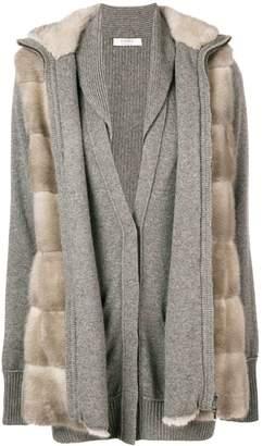 Liska fur layered cardigan