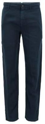 BOSS Hugo Linen Pants, Tapered Fit Stapered4-D 34R Dark Blue