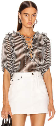 Icons Objects Of Devotion Objects of Devotion Ruffle Lace Up Blouse in Black & White Stripe | FWRD
