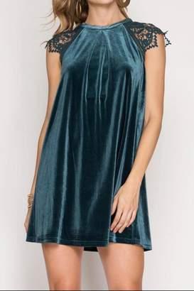 She + Sky Velvet Holiday Dress