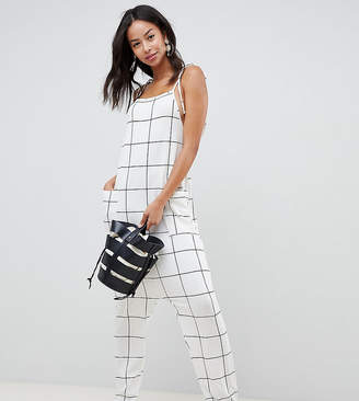 c47f1c75caa Asos Tall DESIGN Tall jumpsuit minimal with ties in white check print