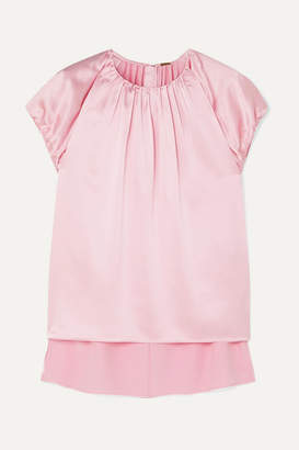 ADAM by Adam Lippes Gathered Silk-charmeuse Top - Pink
