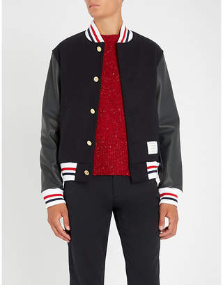 Thom Browne Varsity wool and leather jacket