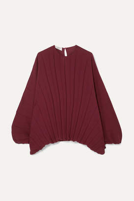 Valentino Pleated Silk Top - Burgundy