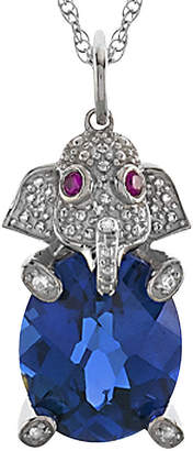JCPenney FINE JEWELRY Simulated Blue Sapphire & Simulated White Sapphire Elephant Pendant Necklace