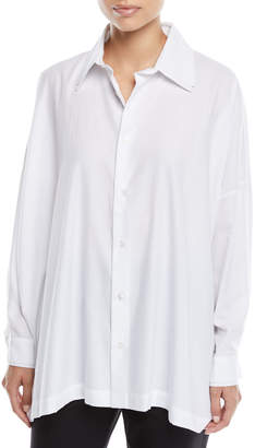 eskandar Double-Collar & Cuffs Button-Front Brushed Cotton Wide Shirt