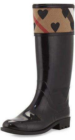 Burberry Crosshill Heart-Check Rain Boot, Black