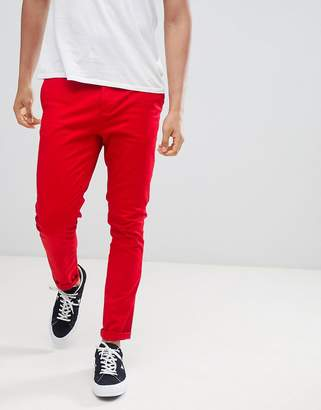 Asos Design Skinny Chinos In Bold Red