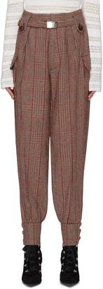 Miu Miu Belted button cuff houndstooth check plaid pants