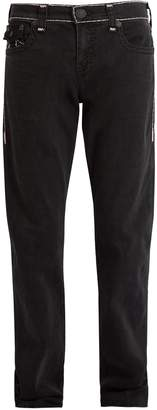 True Religion Washed contrast-trim straight-leg jeans