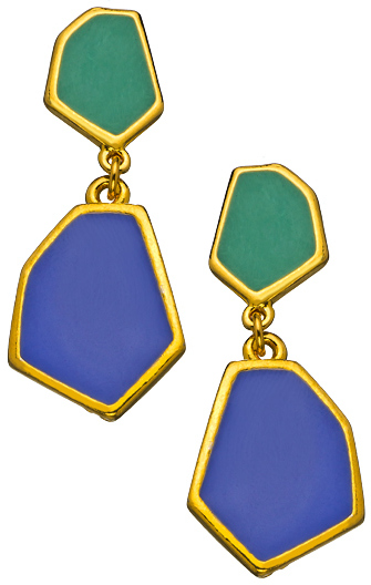 Janna Conner Designs Emerald and Cobalt Enamel Aliza Earrings
