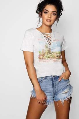 boohoo Western Print Lace Up T-Shirt