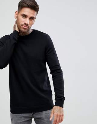 New Look Cotton Crew Neck Sweater In Black