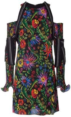 3.1 Phillip Lim Floral Print Plissé Pleat Cold-shoulder Dress
