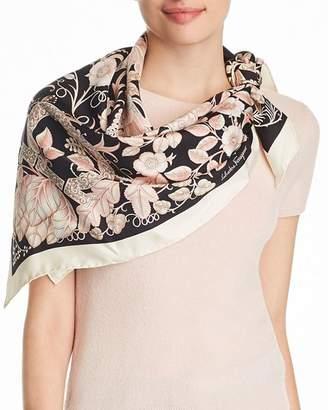 Salvatore Ferragamo Tapestry Floral Gancini Silk Scarf